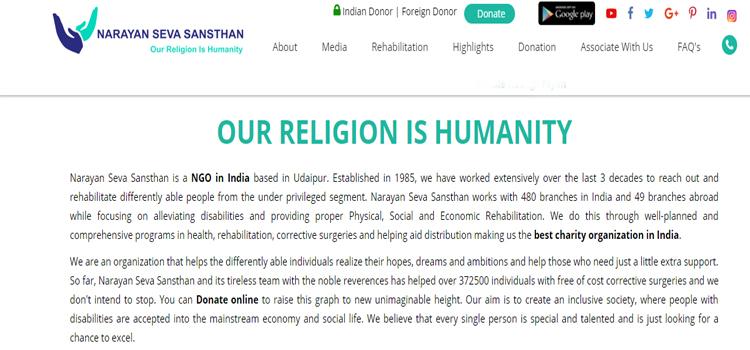 Narayan Seva Sansthan – Religion is Humanity & Service is Divinity