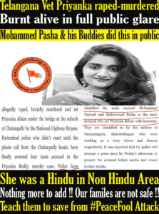 Priyanka raped-murdered & Burnt alive in full public glare by Mohammed Pasha & his Buddies