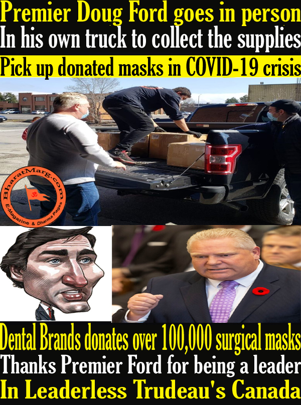 Premier Doug Ford goes in person to Pick up donated masks in COVID-19 crisis !!