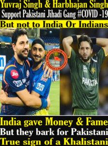 Yuvraj Singh & Harbhajan Singh Support Pakistani Jihadi Gang !!