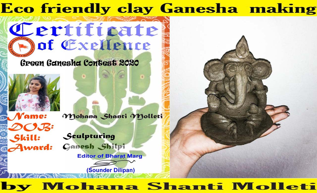 Eco friendly clay Ganesha making by Mohana Shanti Molleti